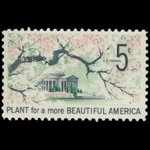 Thomas Jefferson's monument on stamp of USA 1966