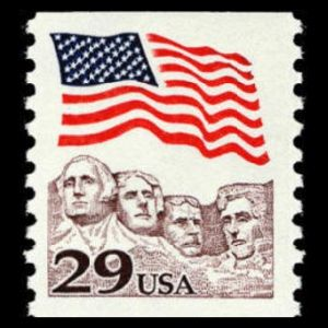 Thomas Jefferson on stamp of USA 1993