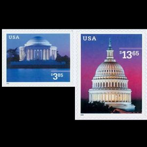 Thomas Jefferson's monument on stamp of USA 2002