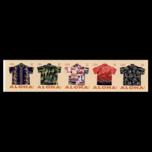Fossils on Aloha shirt on stamp of USA 2012