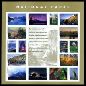 Fossil found place on National Parks stamps of USA 2016