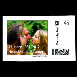 Modern kid and reconstruction of Neanderthaler on personalized stamp of Neanderthal Museum of Germany 2012