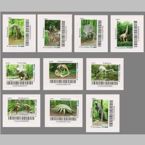 dinosaurs of personalized stamps of Biberpost 2014