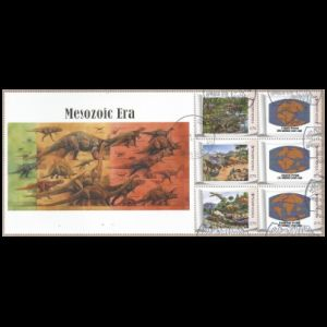 Dinosaurs on personalized stamps of South Korea