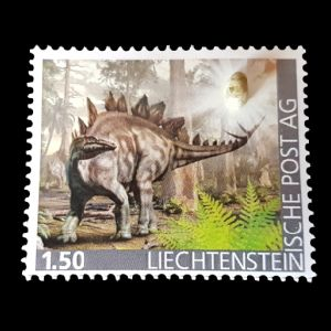 Stegosaurus dinosaur on personalized stamp of Liechtenstein 2020