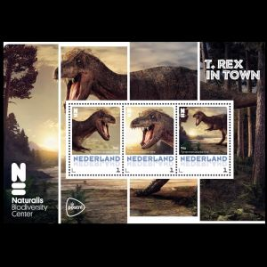 T rex dinosaur on personalized stamp of Naturalis of Niederlande 2016