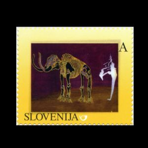 Mammoth from Nevlje by Kamnik on personalized stamp of Slovenia 2013