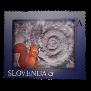 Permian gastropoda from Karavanke Mts on personalized stamps of Slovenia 2015