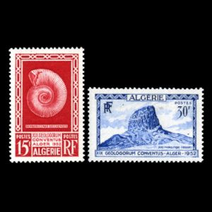 Ammonite on stamp of XIX International Geological Congress from Algeria 1952