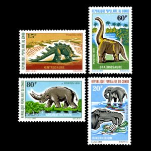 dinosaurs and prehistoric animals on stamps of Congo 1970