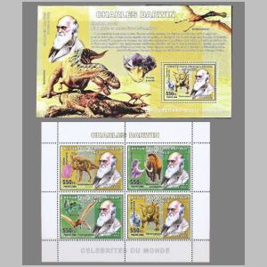 Charles darwin and Dinosaurs on stamps of Congo 2006