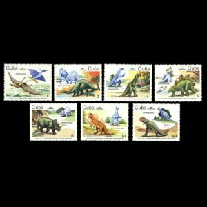 Dinosaurs and some sculpturs of Bacanao National Park on stamps of Cuba 1985