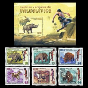 Paleolithic Men and Prehistoric Animals on stamps of Cuba 2008