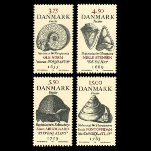 Fossils on stamps of Denmark 1998