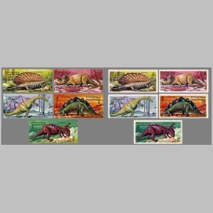 Dimetrodon and dinosaurs on stamps of Fujeira 1968