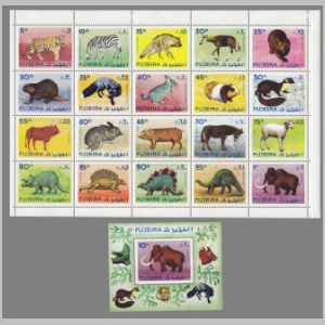 Dinosaurs, prehistoric and modern animals on stamps of Fujeira 1972