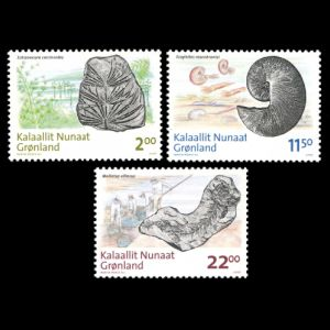 fossils of prehistoric animals and plants on stamps of Greenland 2009