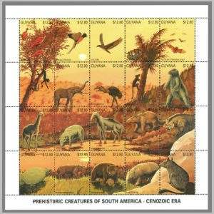 prehistoric animals, dinosaurs on stamps of Guayana 1990