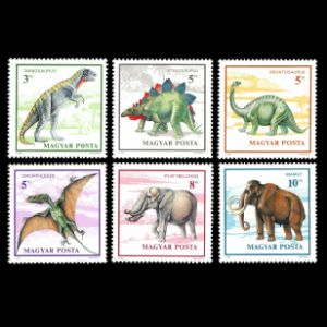 prehistoric animals, dinosaurs on stamps of Hungary 1990