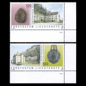 Fossils on stamp of Liechtenstein 2003
