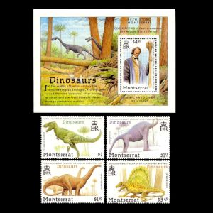 dinosaurs and Richard Owen on stamps of Montserrat 1992