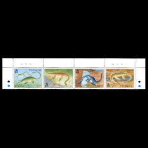 prehistoric animals , sea monsters on stamps of Montserrat 1994