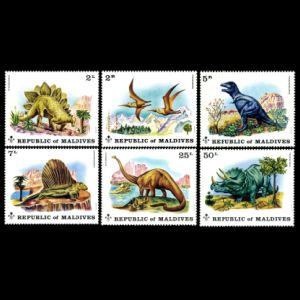 Dinosaurs on stamp of Maldives 1972