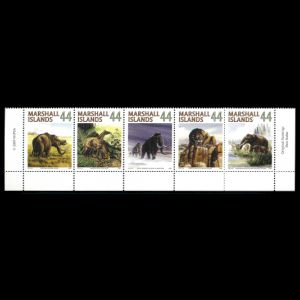 prehistoric mammals, Mastodon, Mammoth, Saber-toothed Cat on stamps of Marshall Islands
