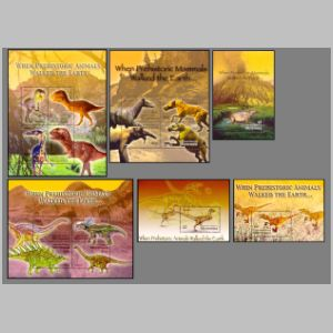 Dinosaurs and other prehistoric animals on stamp of Micronesia 2004
