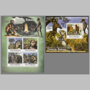 Human Evolution on stamps of Mozambique 2011