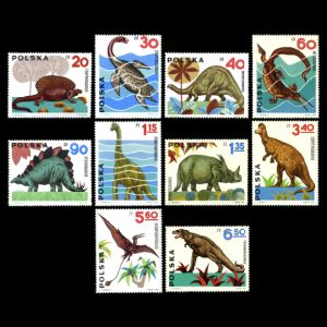 Dinosaurs and other prehistoric animals on stamp of Poland 1965
