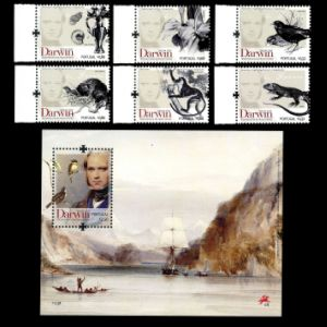 Charles Darwin on stamp of Portugal 2009