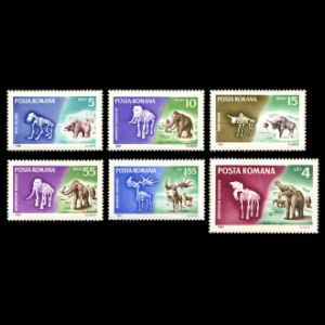 prehistoric mammals on stamps of Romania 1966