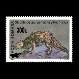 Struthiosaurus transylvanicus dinosaur on surcharged stamp of Romania 2001