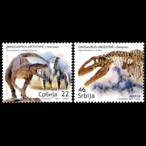 dinosaurs, fossils, Museum Exhibits in Belgrade, on stamps of Serbia 2009