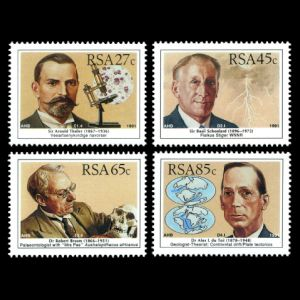scientists Dr Robert Broom, Dr Alex du Toit, Sir Basil Schonland, Sir Arnold Thailer on stamps of South Africa 1991