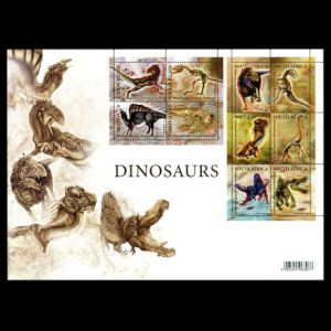 fossils, dinosaurs on 3D stamps of South Africa 2009