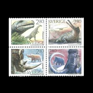 prehistoric animals on stamps of Sweden 1992
