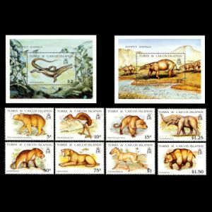 Dinosaurs on stamps of Turkey Turks and Caicos islands 1991