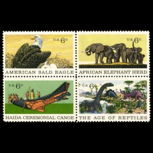 Allosaurus, Apatosaurus, Stegosaurus , American Museum of Natural History on stamps of USA 1970