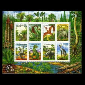 Dinosaurs and other prehistoric animals on stamps of Uzbekistan 1999