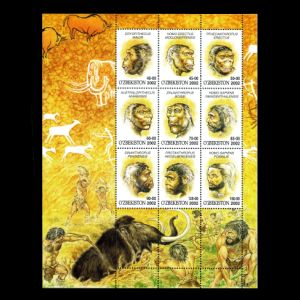 Prehistoric hominids on stamps of Uzbekistan 2002