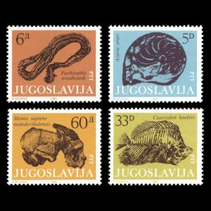 prehistoric animals and Homo sapiens on stamps of Yugoslavia 1985