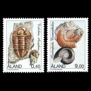 Trilobite and Gastropode on stamps of Aland 1996