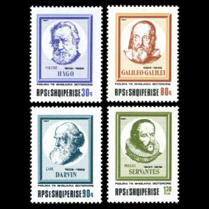 Charles Darwin among other famous personalities on stamps of Albania 1987