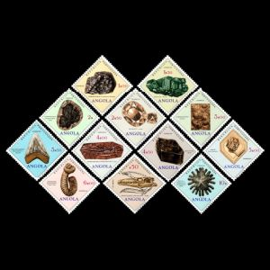 Fossils and minerals on stamps of Angola 1970