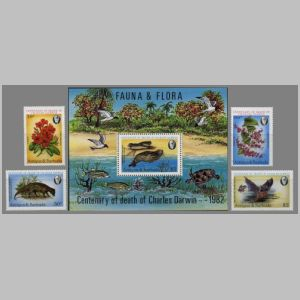 Charles Darwin and modern flora and fauna on stamps of Antigua 1982