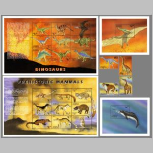 Dinosaurs and prehistoric mammals on stamps of Antigua and Barbuda 1999