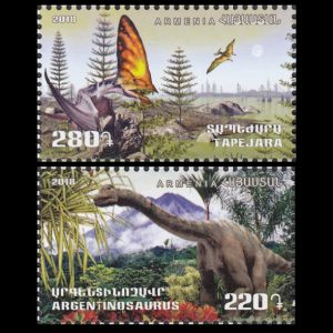 Tepejara and Argentinosaurus on stamps of Armenia 2018