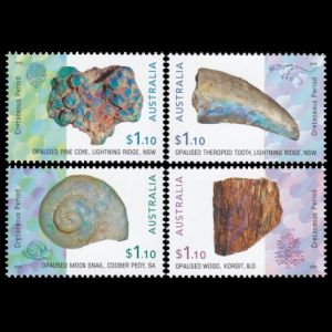 Opalised fossils on stamps of Australia 2020